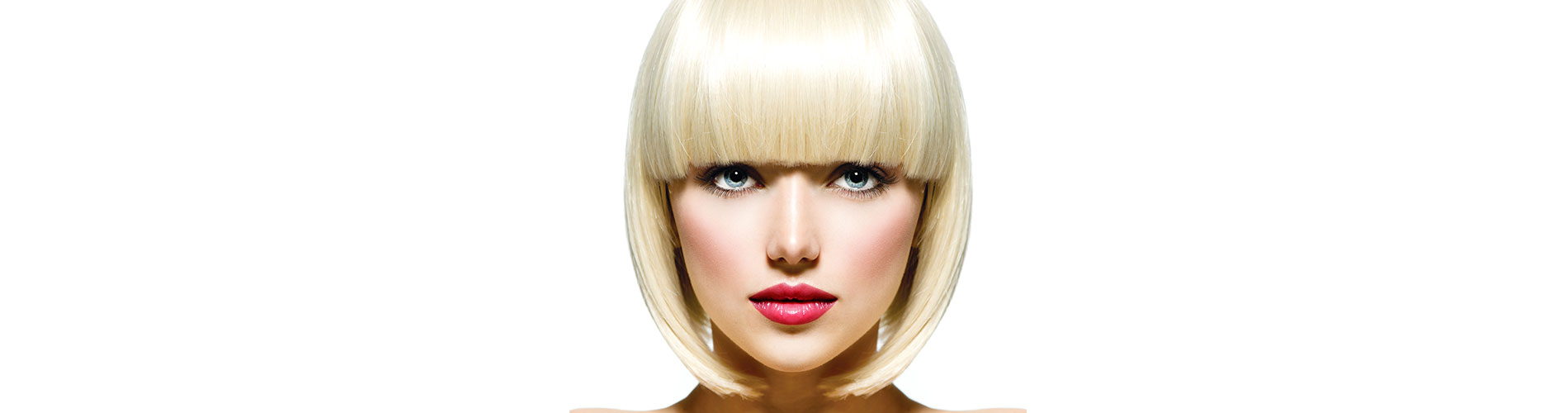 women with short blonde hair and pink lipstick on white background
