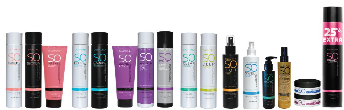 full range of salon only hair care products
