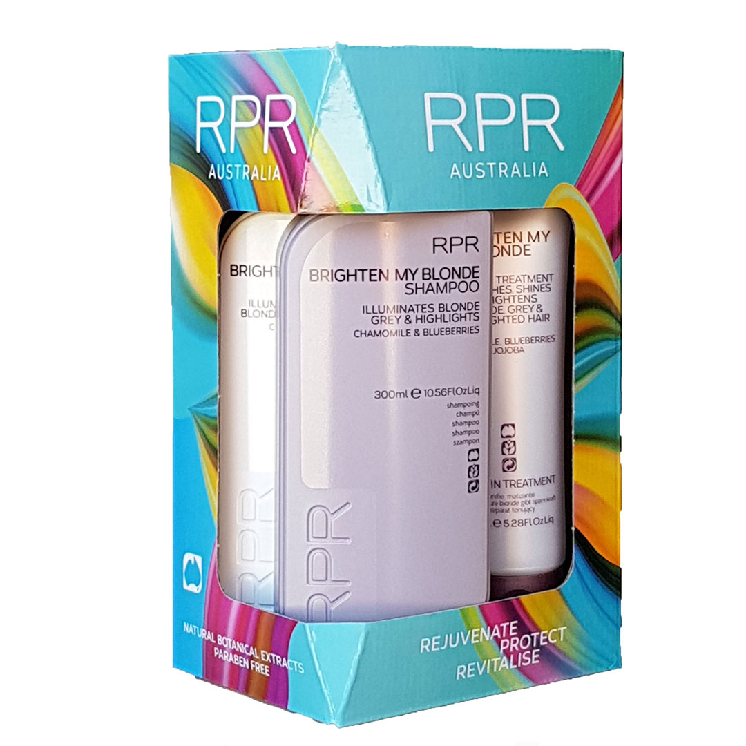 rpr brighten my blonde quad pack with a shampoo conditioner and treatment